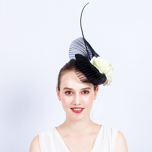 Black Coral Fan Flower Fascinator - Youthly Labs 71895c5f9ee