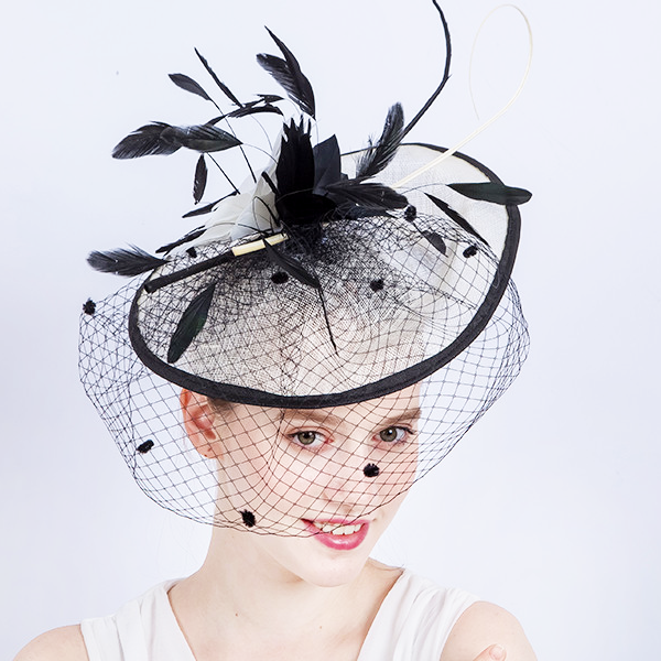 Black Feather Veiled Fascinator - Youthly Labs