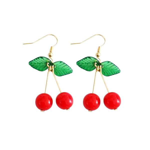 Red Cherry Drop Earrings With Leaves - Youthly Labs