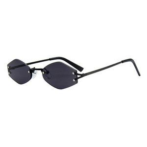 The Colorful Rimless Hexagon Sunglasses Black - Youthly Labs