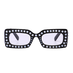 The Embellished Rivets Sunglasses Clear Black - Youthly Labs