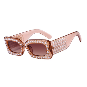 The Embellished Rivets Sunglasses Light Brown - Youthly Labs