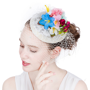 Beige Assorted Colorful Flowers Veiled Fascinator - Youthly Labs