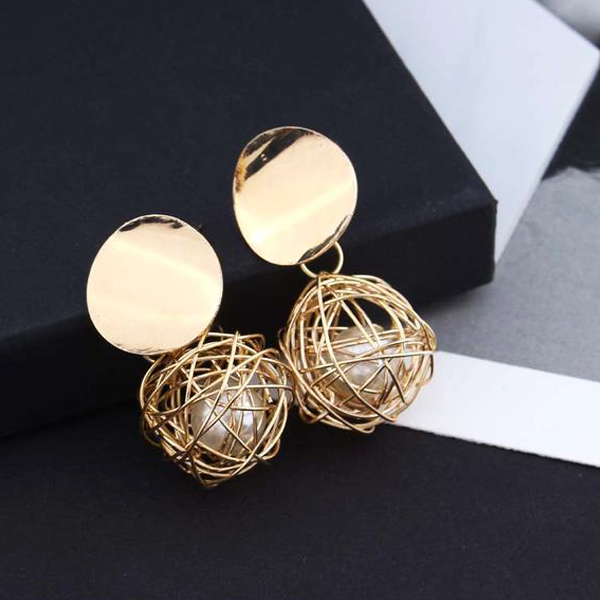Geometric Gold Dangle Earrings With Pearl - Youthly Labs