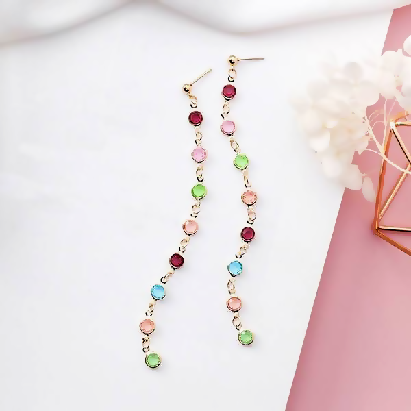 Super Long Colorful Crystal Bead Earrings - Youthly Labs