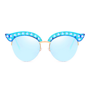 The Luxury Kitty Pearls Sunglasses Blue - Youthly Labs