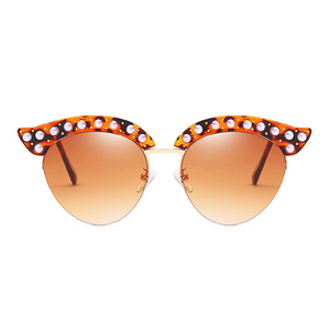 The Luxury Kitty Pearls Sunglasses Leopard - Youthly Labs