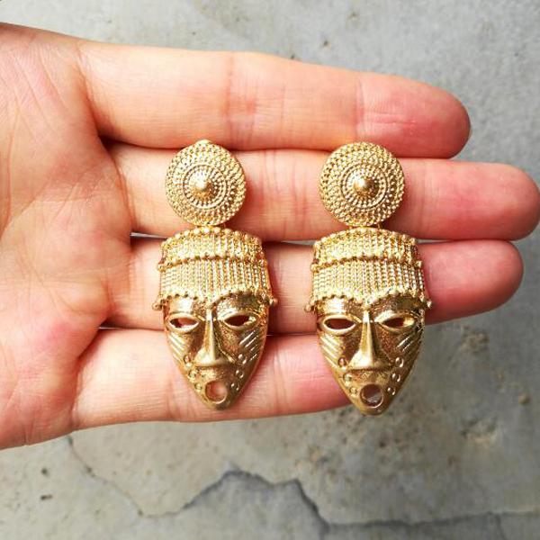 Native African Mask Gold Earrings - Youthly Labs