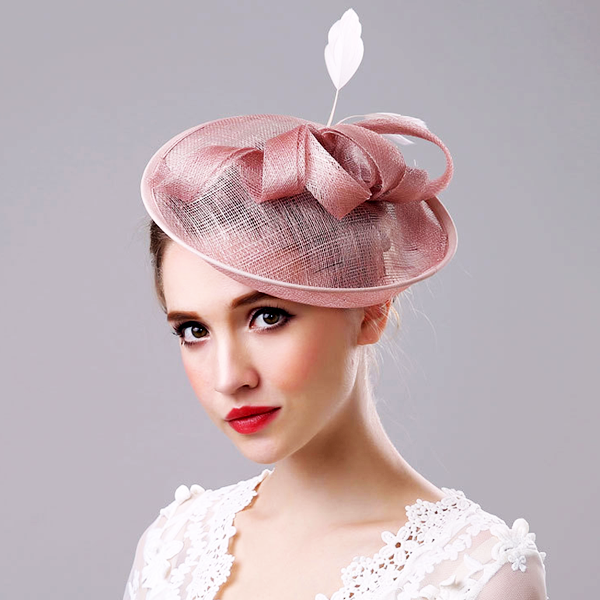 Pale Pink Lady Ribbon Feather Fascinator - Youthly Labs