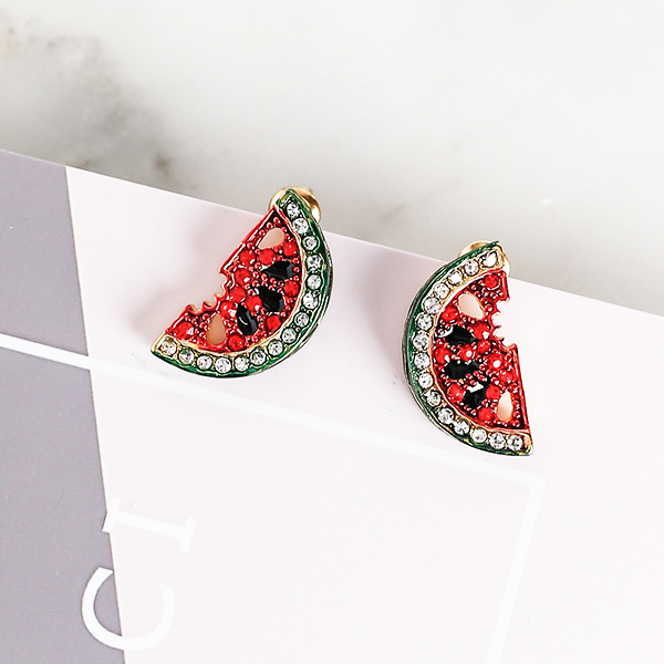 Red Watermelon Summer Stud Earrings - Youthly Labs