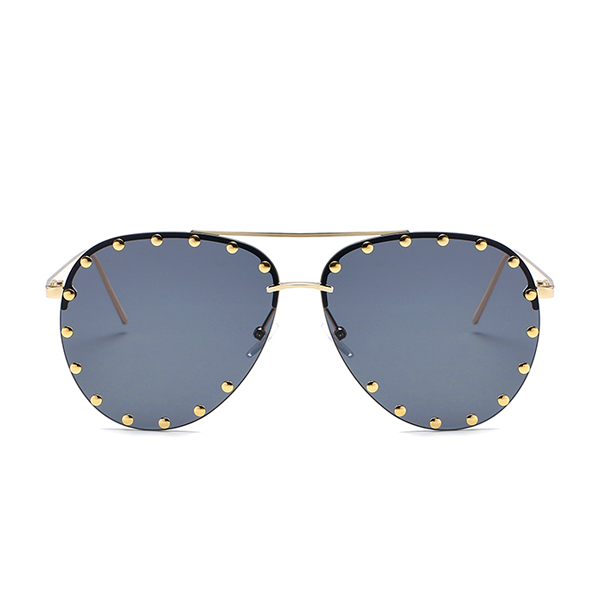 The Riveted Aviator Sunglasses Black - Youthly Labs