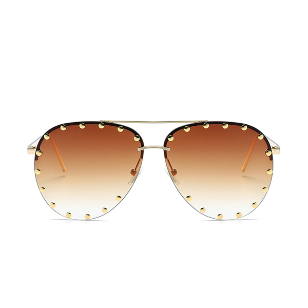 The Riveted Aviator Sunglasses Brown - Youthly Labs
