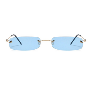 The Skinny Rectangle Sunglasses Blue