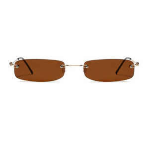 The Skinny Rectangle Sunglasses Brown - Youthly Labs