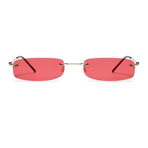 The Skinny Rectangle Sunglasses Red