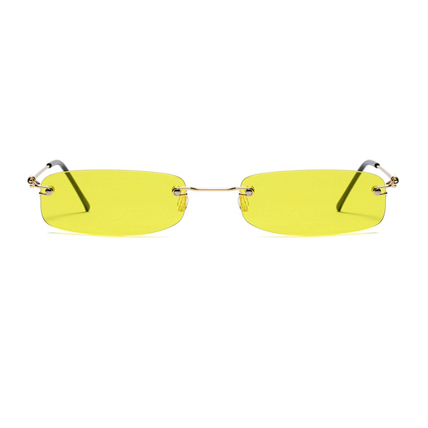 The Skinny Rectangle Sunglasses Yellow - Youthly Labs