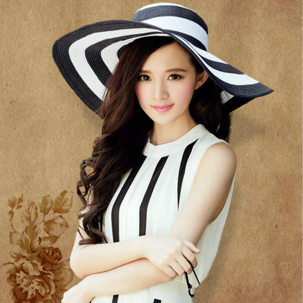 Large Black and White Striped Straw Beach Sun Hat - Youthly Labs
