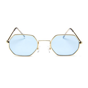 The Tiny Metallic Octagon Sunglasses Blue - Youthly Labs