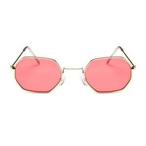 The Tiny Metallic Octagon Sunglasses Red