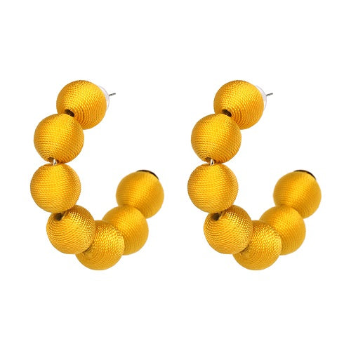 Pom Pom Hoop Earrings Yellow - Youthly Labs