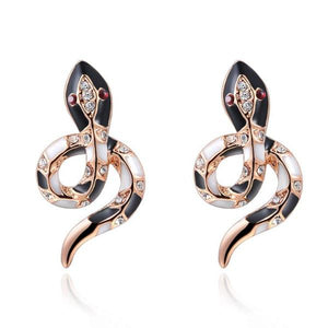Bejeweled Snake Earrings Rose Gold - Youthly Labs