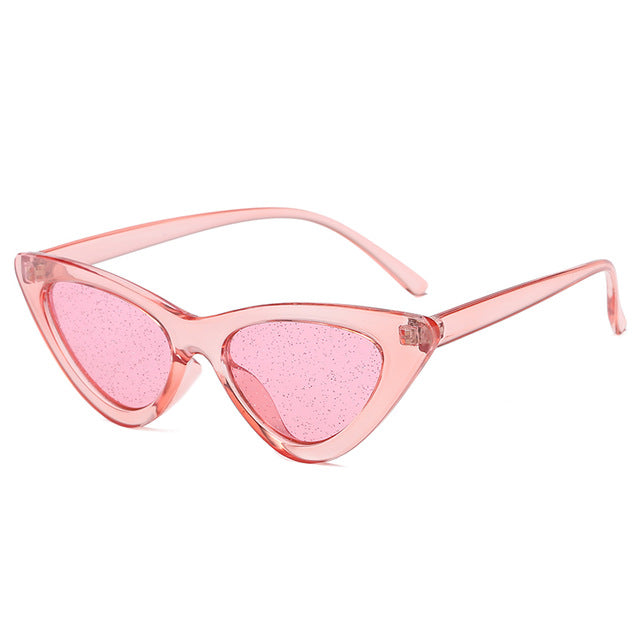 The Vintage Cat Sunglasses Clear Pink