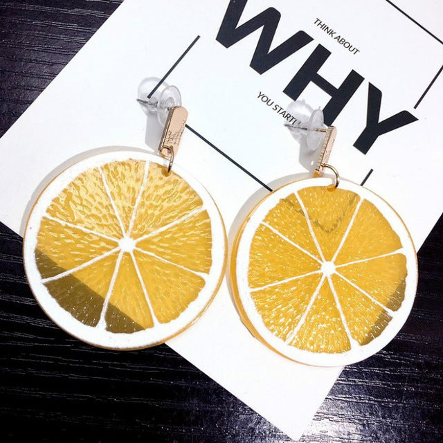 Large Acrylic Lemon Earrings - Youthly Labs