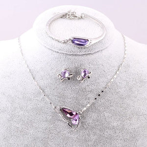 Sales 2018 New Butterfly Jewelry Sets Necklace + Earring+Bracelet Crystal Set Fashion Jewelry
