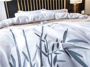 White Luxury Bamboo Bedding Sets Embroidery Bed Set