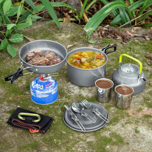 Set of outdoor cooking pots and pans and even a coffee pot