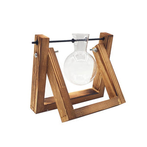 Transparent Vase Wooden Frame