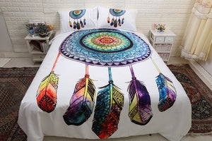 "Indian Bohemian ""Watercolor"" Feather Skull Bedding Set"