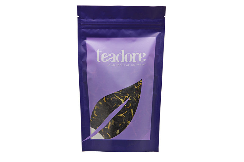 Monk's Play; Canadian loose leaf tea made with Ceylon flowery-pekoe black tea and calendula