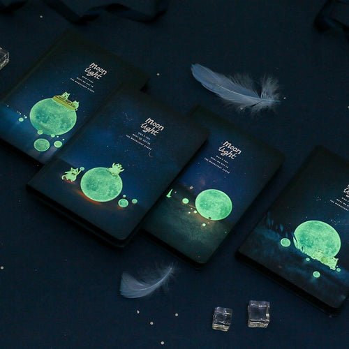 'Moonlight' Black Pages Notebook | Glow in the dark - All Written Down
