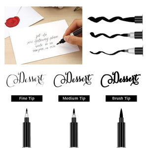 Black Calligraphy Pens - Set of 3 - All Written Down