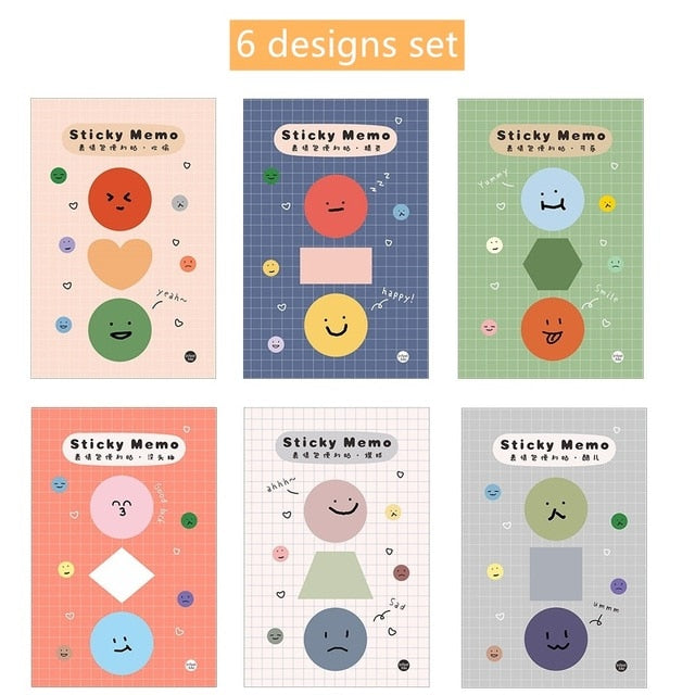 Cute Mini Faces Sticky Note Set- 6 Pads - All Written Down