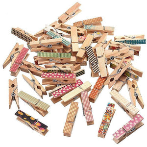 Painted Mini Wood Clip Set | 50 Pieces - All Written Down