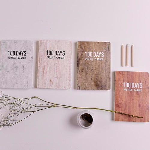 100 DAYS PROJECT Planner - Wooden Style - All Written Down