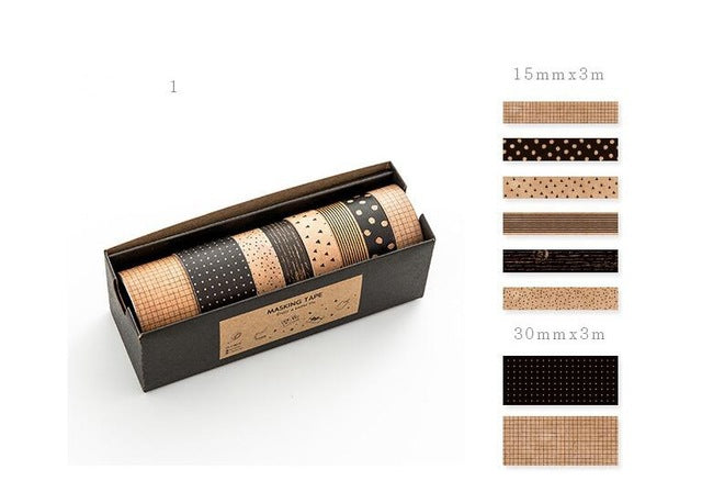 Craft & Black Design Washi Tape - Set of 8 - All Written Down