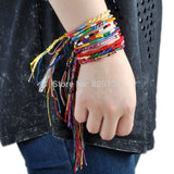 10Pcs Handmade Braided Bohemian Colorful Rainbow Rope Bracelets