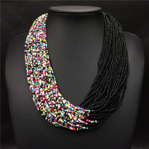 Bohemian Acrylic Beads Long Multi-Layer Necklace