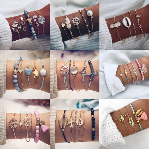 Bohemian Multi-Layer Charm Bracelet Set