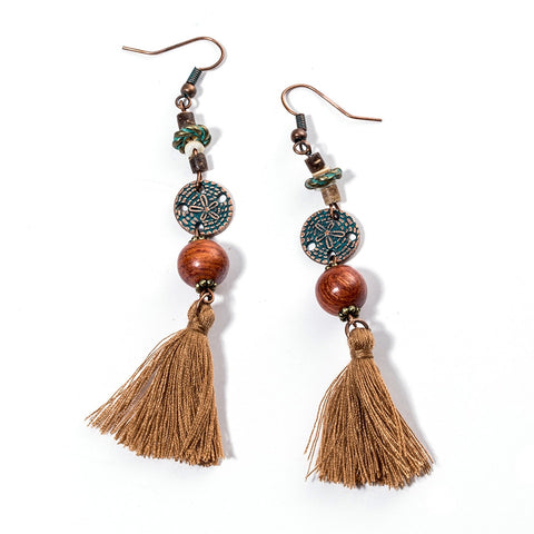 Bohemian Vintage Leaf Tassel Earrings