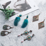 4 vary Bohemian Blue charm Earrings