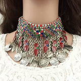 Bohemian Retro Bead / Coin  Necklace Choker
