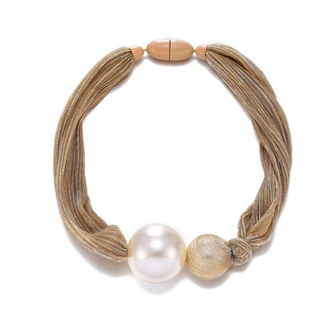 Big Simulated Pearl Ball Pendant Necklace