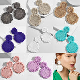 Bohemian Handmade Colorful Round Big Pendant Earrings