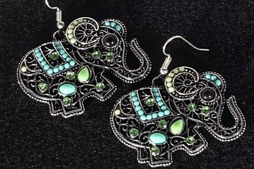 Bohemian Elephant Earrings (green accents)