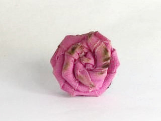 Unisex Rose Lapel Pin~ Carnation Pink- with burnt edges