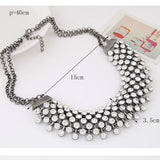 Trendy Crystal Chain Statement Necklace